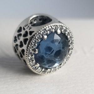 PANDORA Charm Radiant Hearts Blue Silver925 New